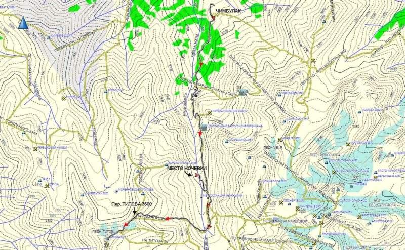 Карта маршрута на пик Титова со стороны Чимбулака
