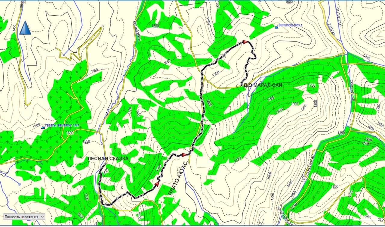 Карта трека Лесная сказка-Актас-Маралсай