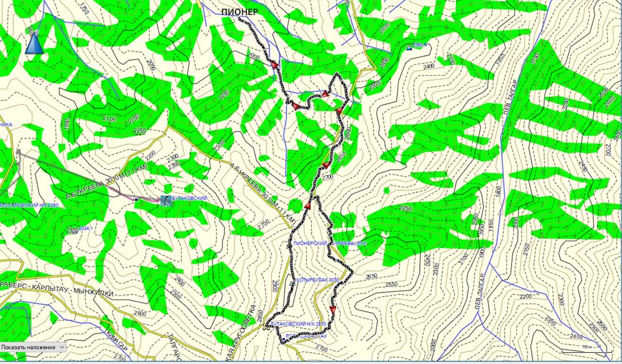 Карта трека Пионер-пер.Бутаковский-г.Котырбулак-г.Букреева-Пионер