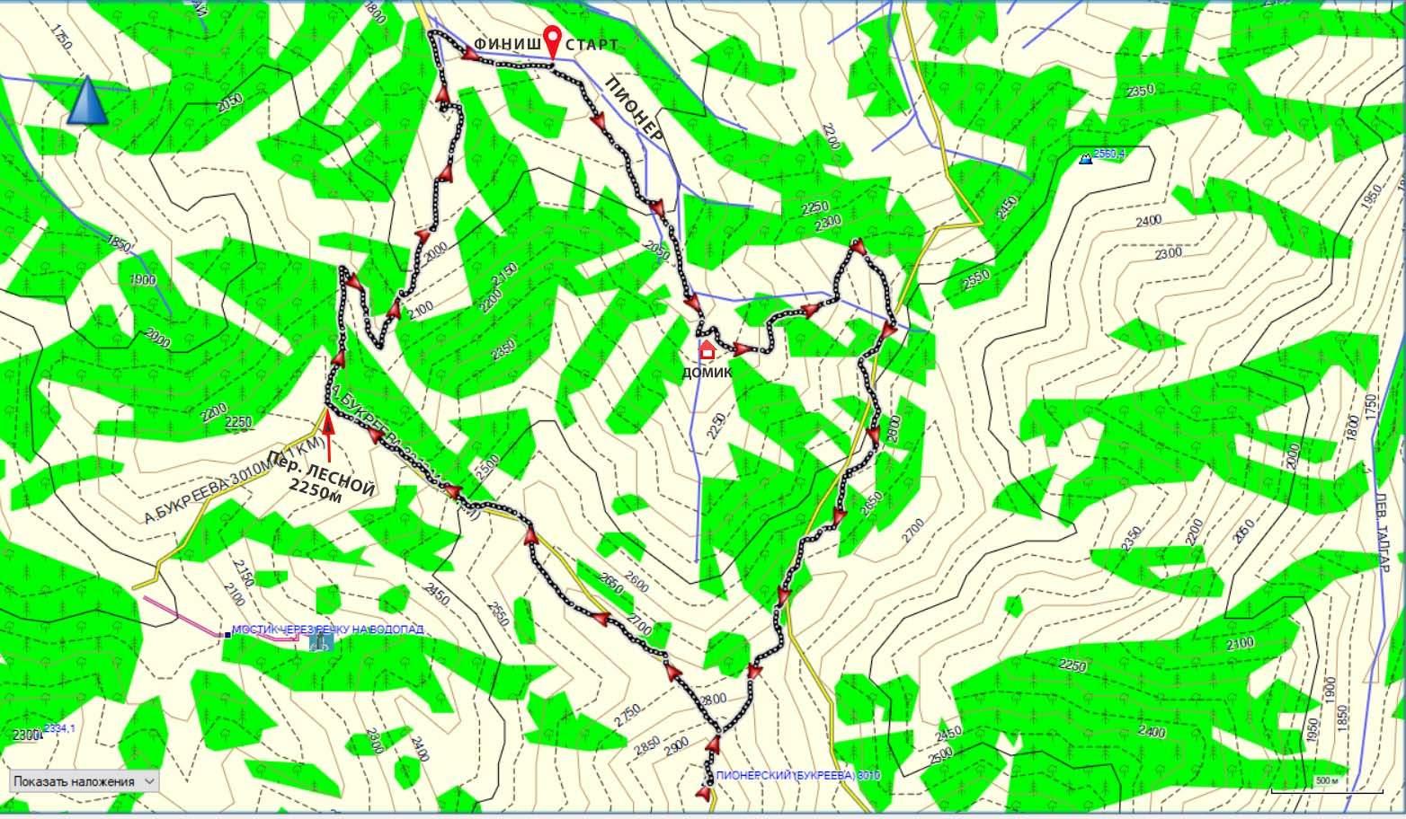Карта маршрута на пик Букреева с Пионера