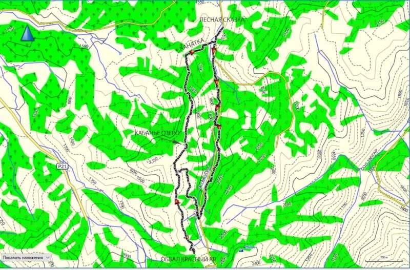 Карта трека Обвал Кызыл-Жар Кабанье озеро