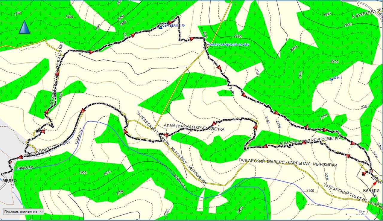 Карта Медео-г.Серкебай-пер.Карта Кимасар-Качели-Медео