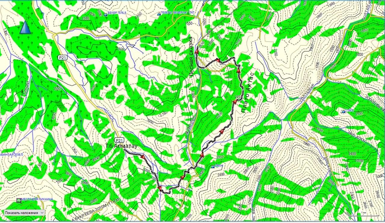 Карта маршрута т.б. Алматау-плато Актас-Лесная сказка