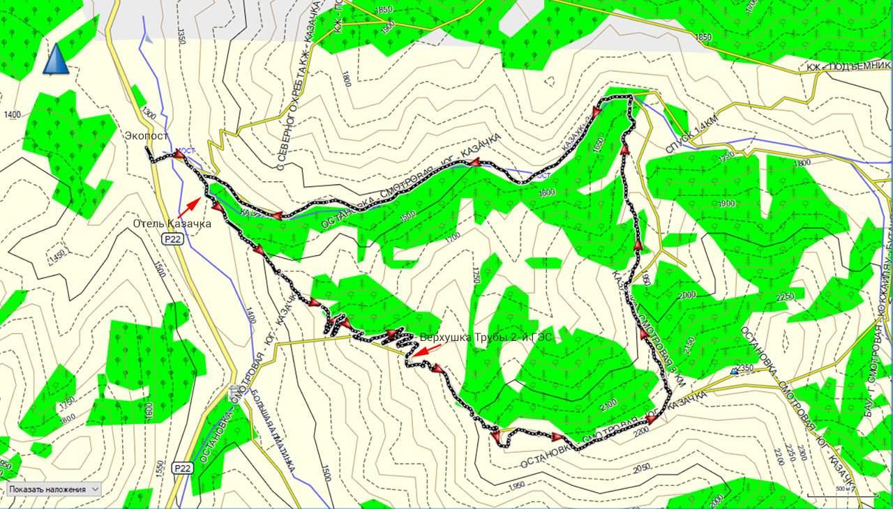 Карта трека Экопост-отель Казачка-труба ГЭС-2-гора Смотровая-ущелье Казачки